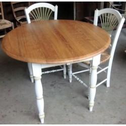 Table ronde pied peint 2 allonges en chêne