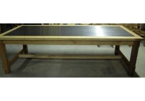 Table rectangulaire inox en chêne