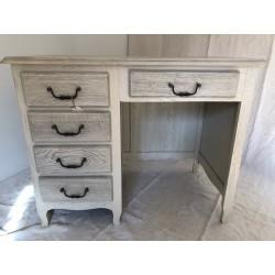 Table avec tiroir en chêne peint