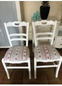 Chaise en frêne peint garni tissu lot de 2
