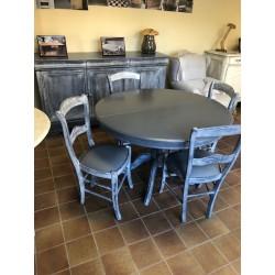 Table ronde style régence merisier peint diamètre 110 avec une allonge