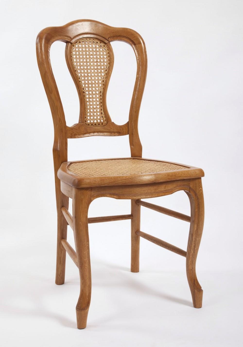 chaise de salle tr fle cann et dossier cann en ch ne merisier ou noyer la chaise artisanale. Black Bedroom Furniture Sets. Home Design Ideas