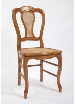 Chaise de salle trèfle canné et dossier canné