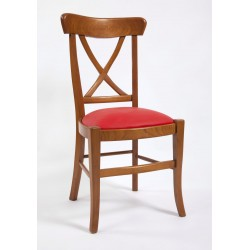 Chaise de salle Directoire à croisillons capitonnée