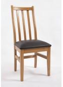 Chaise 3 barres verticales capitonnage noir