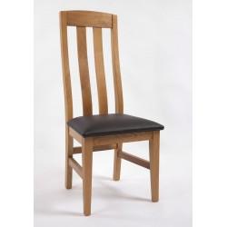 Chaise 2 barres verticales capitonnage noir